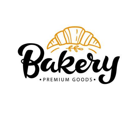 Bakery badge label with hand written modern calligraphy. Elegant lettering emblem, vintage retro style.