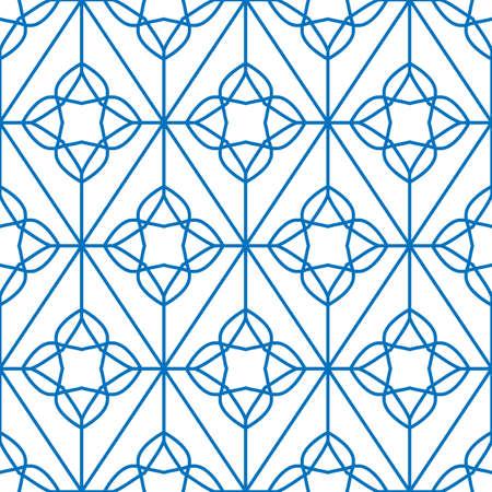 Vector geometric Islamic seamless pattern, classic blue moroccan arabic minimal ornament, mono line grid, abstract linear simple vector background. Modern fashion, wallpaper texture, retro style. 向量圖像