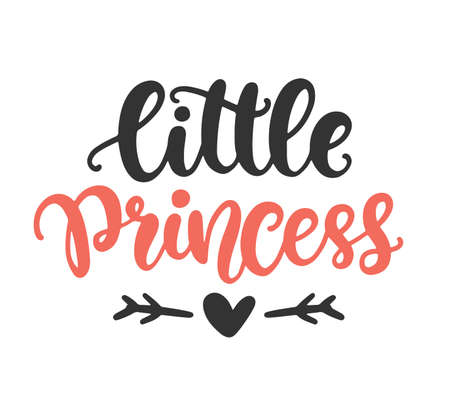 Little Princess print for girl clothes, hand drawn text, baby lettering typography. Kids T-shirt design, poster, decor, postcard Inspirational quote. Vector illustration