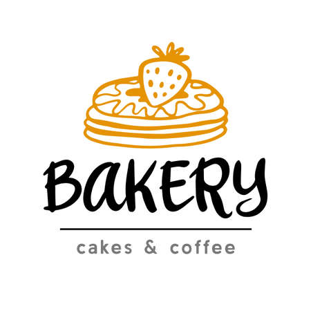 Bakery logotype badge label with hand drawn doodle elements