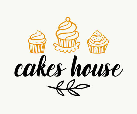 Cakes shop logotype template, sweet bakery badge label