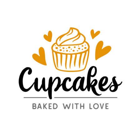 Cupcakes logotype badge label Иллюстрация