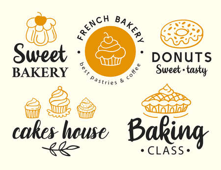 Bakery logotype set. Badge labels collection
