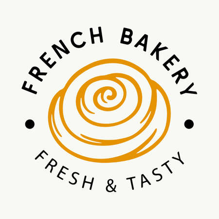 French Bakery logotype badge label 向量圖像