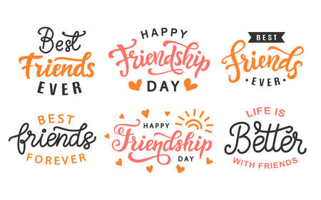 Happy Friendship Day cute hand lettering big set. Best friends forever. Greeting card typography template. Modern calligraphy design elements for poster, tee shirt print. Vector illustration. Illustration