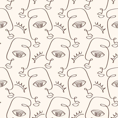 Abstract primitive faces seamless pattern texture Ilustracja