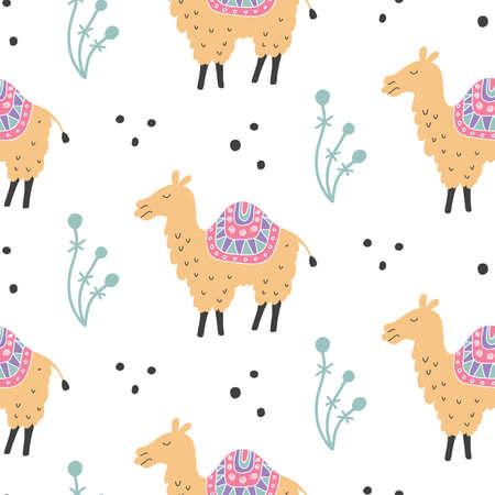 Cartoon Camel Seamless Pattern. Hand Drawn Elements. Nursery Childish Textile, Fabric Design, Wallpaper. Vector illustration