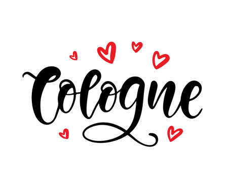 Cologne calligraphy. Modern city hand written brush lettering, isolated on white background. Tee shirt print, typography card, poster design. Vector illustration. Vintage retro style