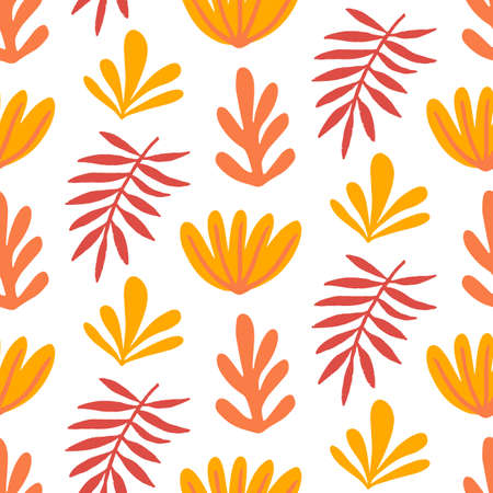 Floral summer beautiful seamless pattern, bright bold hand drawn tropical print. Summer plants for fabrics, textile print, clothes and wallpaper, wrapping paper. Trendy surface design.