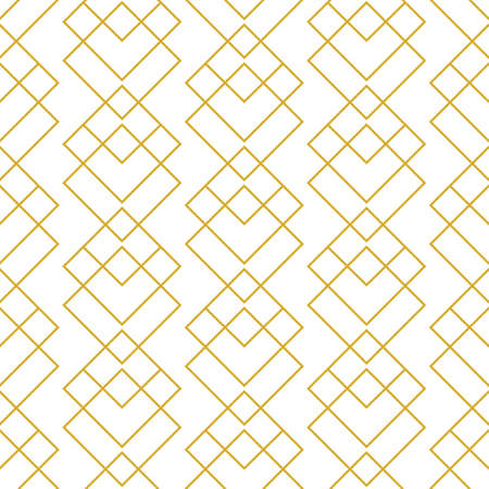 Vector geometric Art deco elegant seamless pattern, gold and white minimal ornament, mono line grid, modern abstract linear simple vector background. Modern fashion, wallpaper texture, retro style.