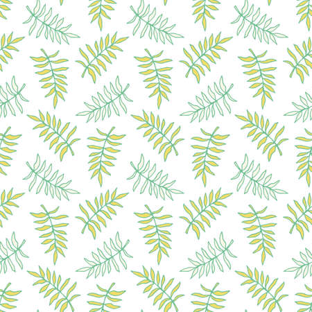 Beautiful tropical leaves seamless pattern, modern hand drawn nature foliage. Summer plants, textile print, clothes, wallpaper, wrapping paper. Trendy surface design.