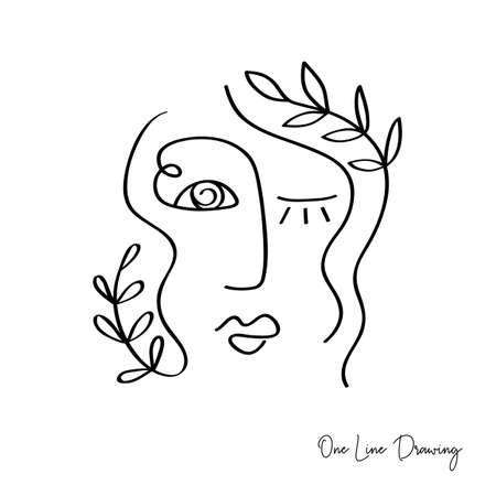 Fashion One line drawing women faces. Abstract female portrait. Vector lines modern glamour poster, minimalistic style. Abstract continuous linear art, t shirt print. Ilustracja