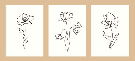 Vector design templates with botanical illustrations. Trendy floral linear elements set, cards and posters. Hand drawn ink one line flowers collection, vintage style