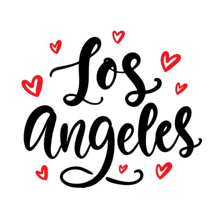 Los Angeles calligraphy. Modern city hand written brush lettering, isolated on white background. Tee shirt print, typography card, poster design. Vector illustration. Vintage retro style
