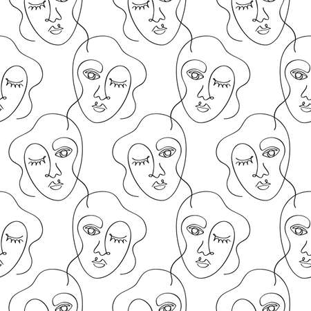 Glamour one line drawing women faces seamless pattern texture