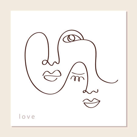 Linear abstract couple faces 向量圖像