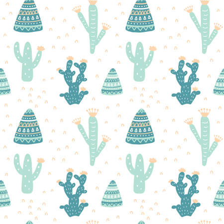 Hand drawn cacti seamless repeat pattern