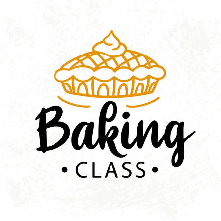 Baking class . Cooking course badge label
