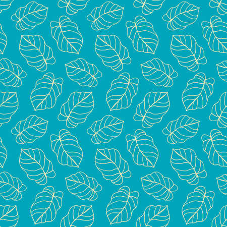 Beautiful tropical leaves seamless pattern Ilustração