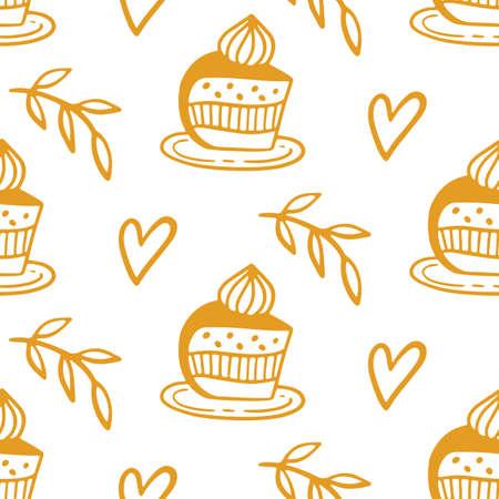 Pastry, sweet bakery seamless pattern with baked goods Ilustração