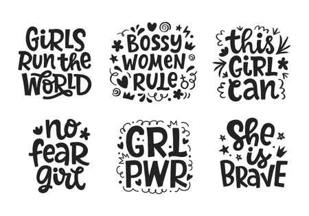Girl power quotes set, hand drawn lettering vector design Ilustração