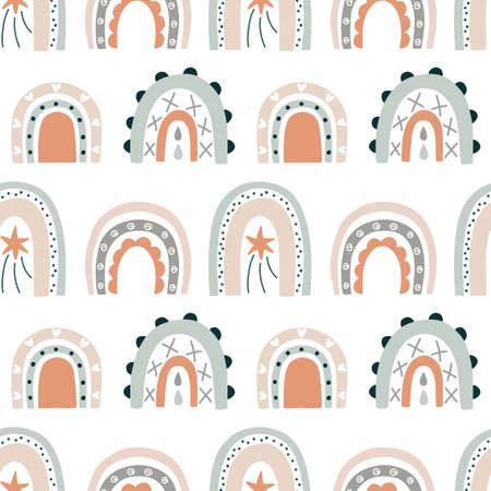 Rainbow hand drawn doodles seamless pattern Ilustração