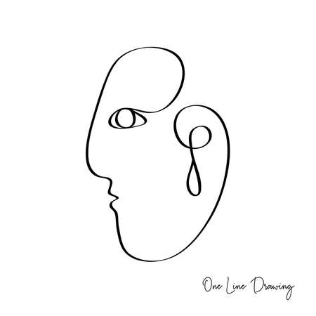 Fashion One line drawing fashion women face. Abstract glamour female portrait. Vector lines modern glamour poster, minimalistic style. Abstract continuous linear art, t shirt print.