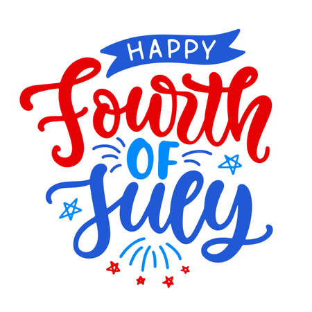 Happy Fourth of July hand written ink lettering. United States of America Independence day modern calligraphy typographic design for poster, brochure, greeting card template. Vector illustration