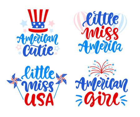 Little Miss America, american girl hand written lettering set Ilustração