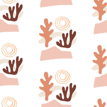 Modern Natural Abstractions seamless pattern. Collage with organic shapes. Earthy colors. Textile fabrics print, wallpapers, wrapping papers, packaging design.