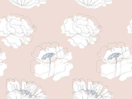 Delicate Floral garden seamless pattern with blossom flowers, spring feminine endless texture, ink sketch art. Vector illustration for wedding invitations, wallpaper, textile, wrapping paper Ilustração