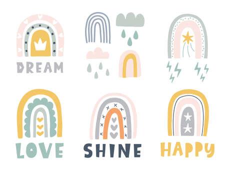 Hand drawn cute rainbows doodles set, isolated on white, decorative scandinavian style print for nursery, kids apparel, sticker label, creative fun t shirt design. Vector illustration Ilustração
