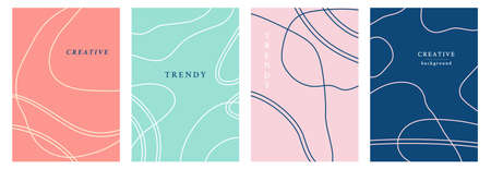 Minimal abstract geometric covers set. Simple lines colorful trendy templates design. Posters, business identity, flyers background, social media stories, web backdrops. Vector illustration