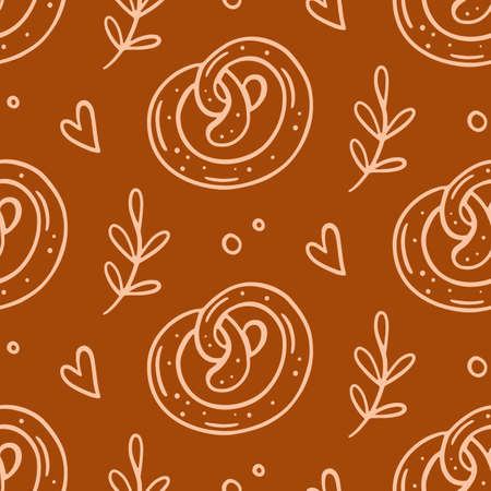 Pastry, sweet bakery seamless pattern with baked goods 일러스트