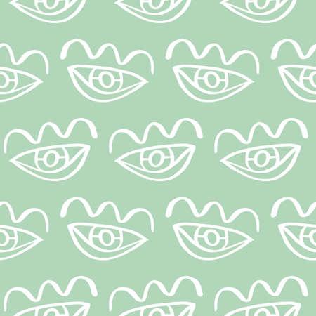Vector hand drawn eye doodles seamless pattern background Illustration