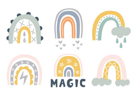 Hand drawn cute rainbows doodles set