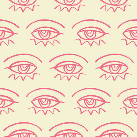 Vector hand drawn eye doodles seamless pattern background Ilustrace
