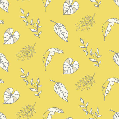 Summer background, yellow tropical leaves seamless pattern