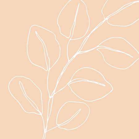 Minimalism card floral art design. Delicate vintage poster Illustration