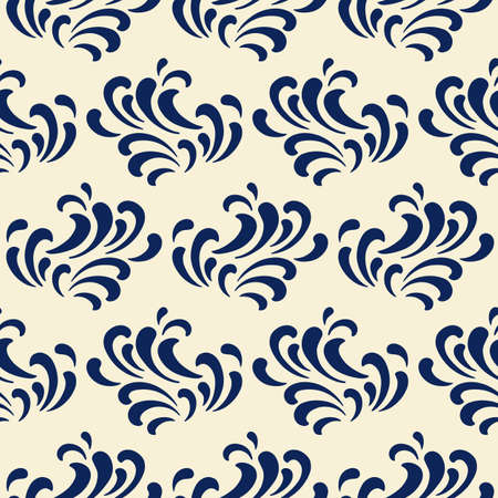 Ocean waves seamless pattern, classic blue color
