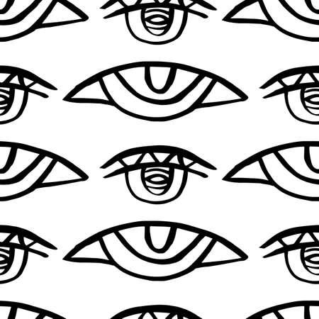 Vector hand drawn eye doodles seamless pattern Ilustración de vector