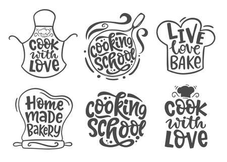 Home made bakery, culinary logotype icons set Vettoriali