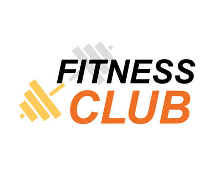 Fitness club sign, bodybuilding club emblem template. Sport icon, power lifting with barbell, dumbbell symbol. Иллюстрация