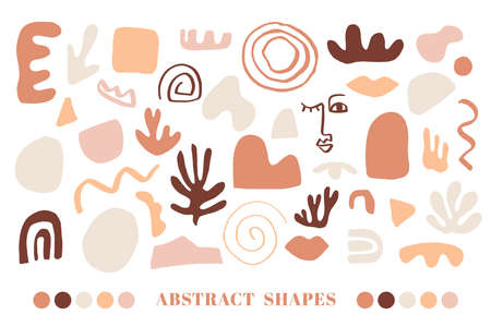 Modern Natural Abstractions elements set 向量圖像