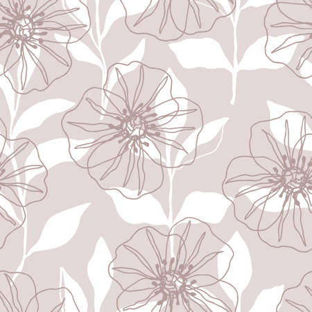 Floral seamless pattern with beautiful vintage flowers 向量圖像