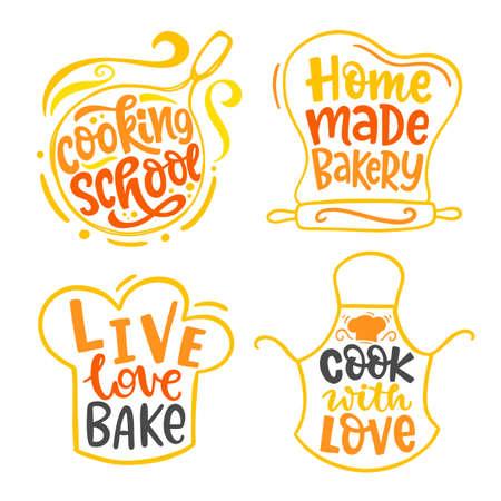 Home made bakery, culinary logotype set