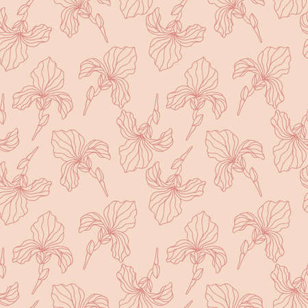 Floral seamless pattern with iris flowers 向量圖像