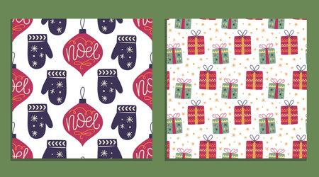Christmas winter holiday seamless pattern set