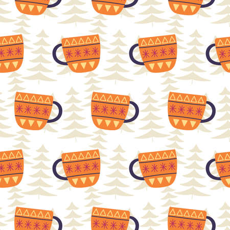 Winter tea cups decoration seamless pattern
