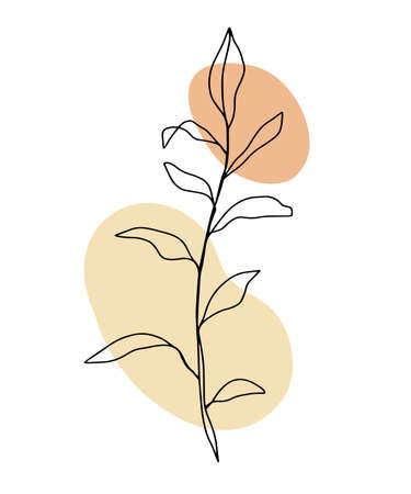 Minimal card floral art design with one line drawing ink flower